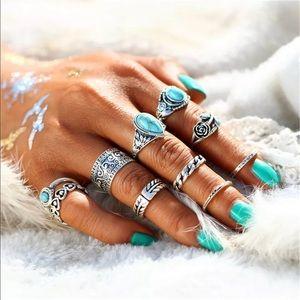 Jewelry - 10 pc Boho stacking ring set